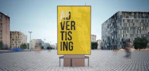 Aussenwerbung Werbetafel auf Straße in Frankfurt