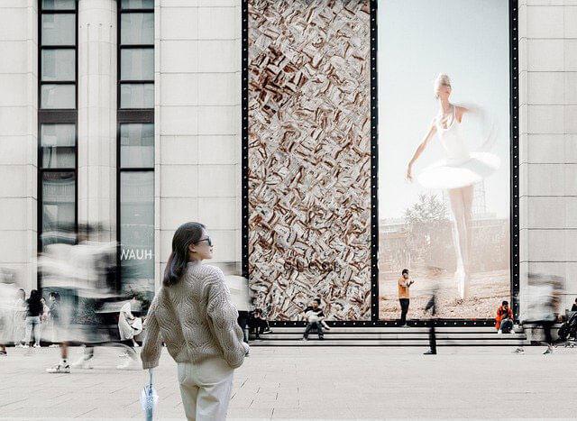 Wandbeklebung in der Frankfurter Innenstadt